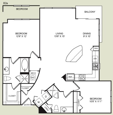 1,213 sq. ft. B2 floor plan