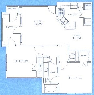 952 sq. ft. B1 floor plan