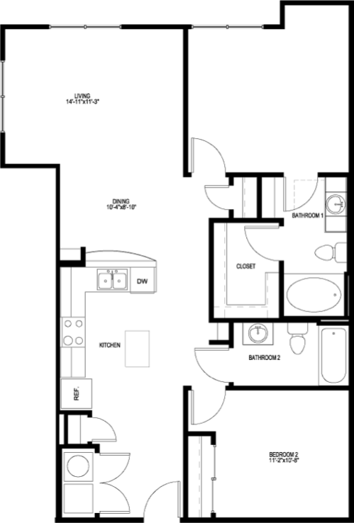 1,078 sq. ft. B4E-II floor plan