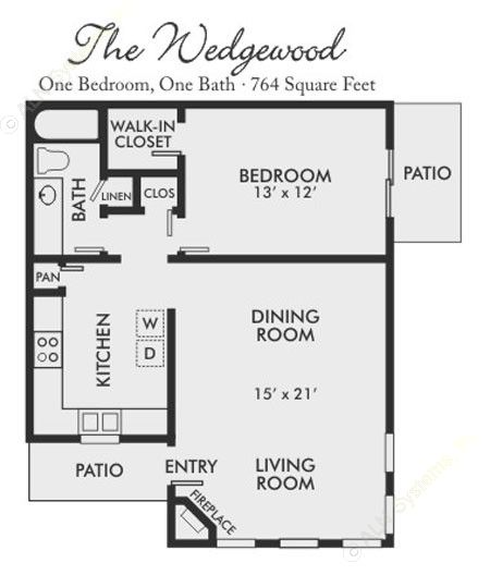 764 sq. ft. Wedgewood floor plan