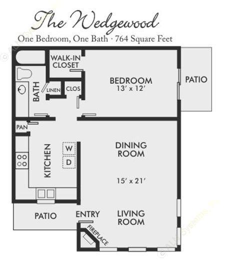 764 sq. ft. Wedgewood floor plan
