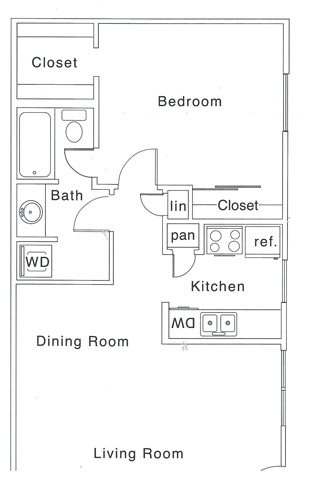 700 sq. ft. C floor plan