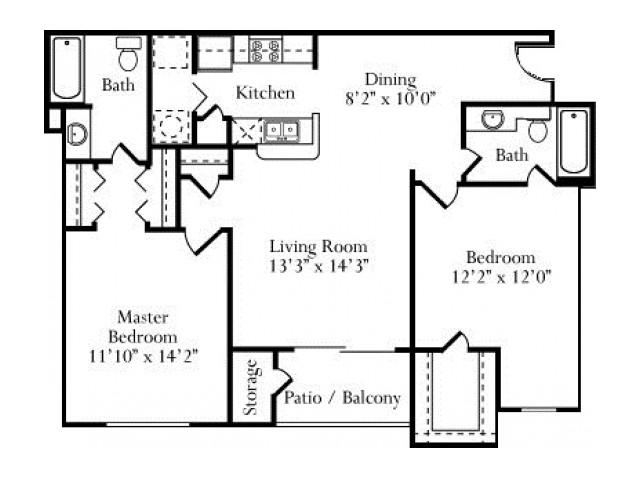 1,047 sq. ft. Magnolia floor plan