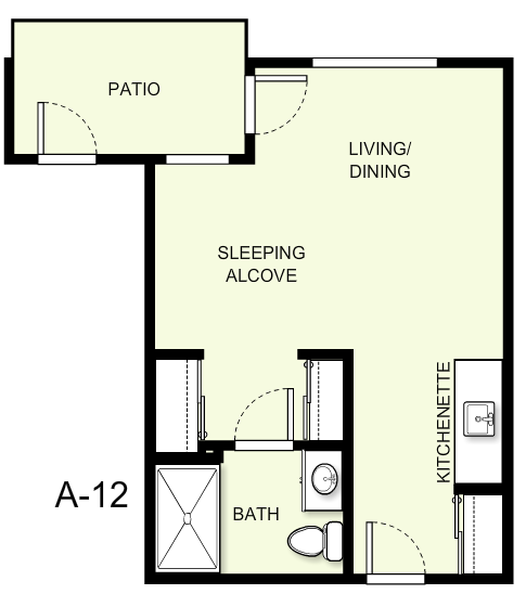 350 sq. ft. A12 floor plan