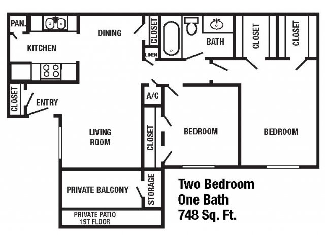 748 sq. ft. floor plan
