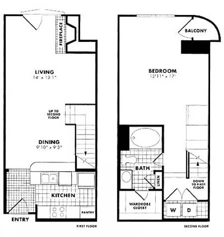 910 sq. ft. to 1,055 sq. ft. Corbett floor plan