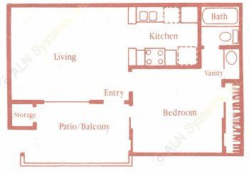 481 sq. ft. A floor plan
