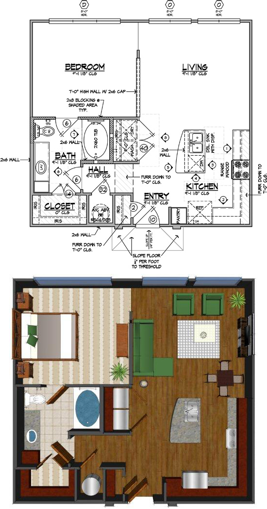 728 sq. ft. D floor plan