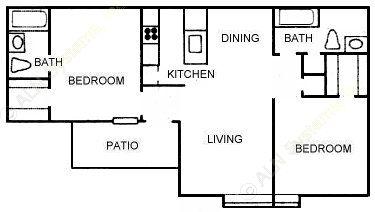 865 sq. ft. B3 floor plan