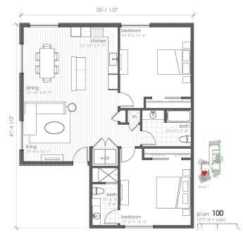 1,271 sq. ft. B8 floor plan