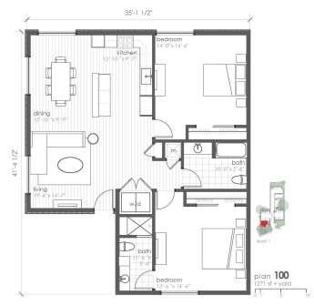 1,271 sq. ft. B8 floor plan