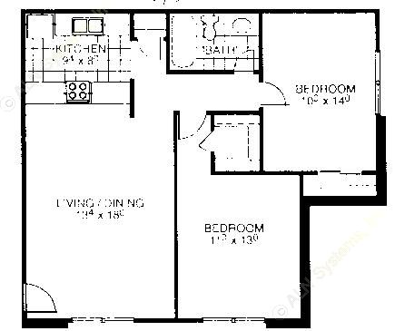 837 sq. ft. B1 floor plan