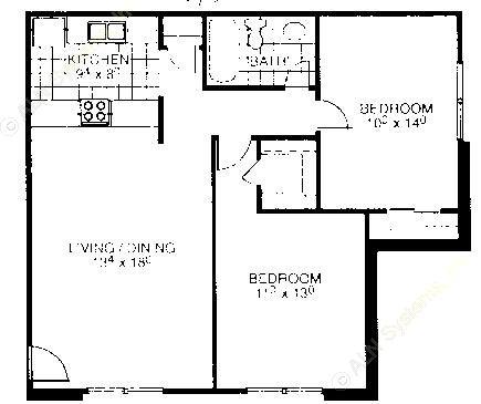 837 sq. ft. B1 floor plan