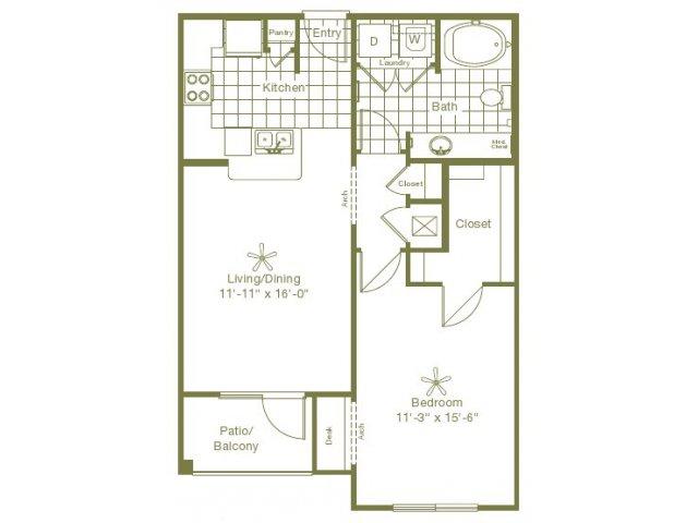 758 sq. ft. Morris floor plan