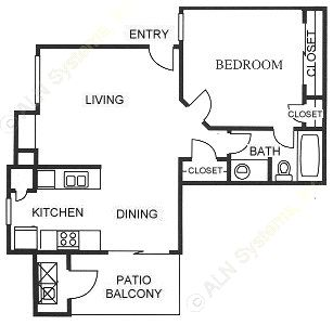 603 sq. ft. A3 floor plan