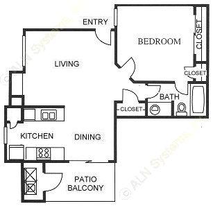 603 sq. ft. A3 floor plan