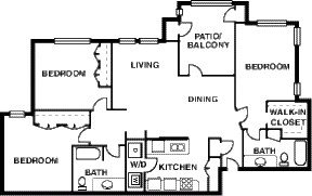 1,194 sq. ft. C/50% floor plan