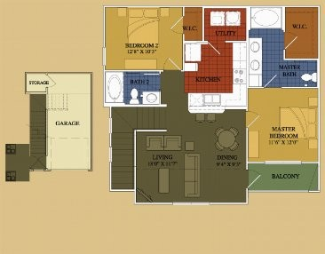 1,058 sq. ft. Wisteria floor plan