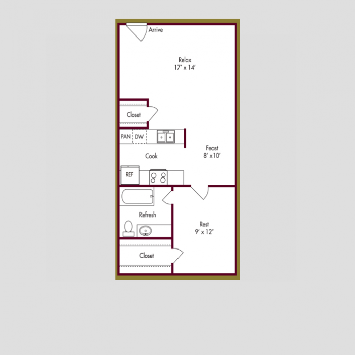 627 sq. ft. A floor plan