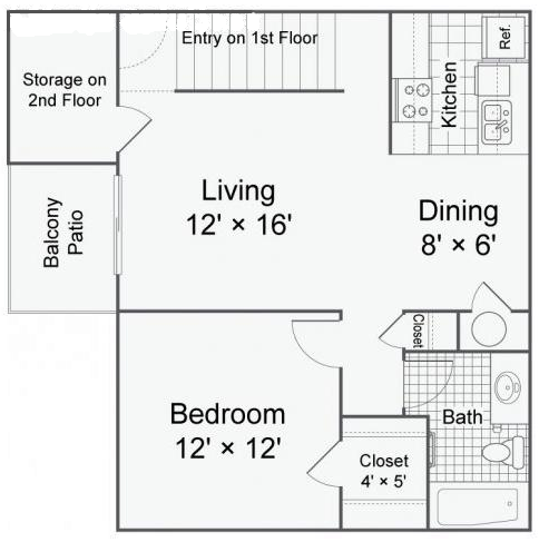 647 sq. ft. A3 floor plan