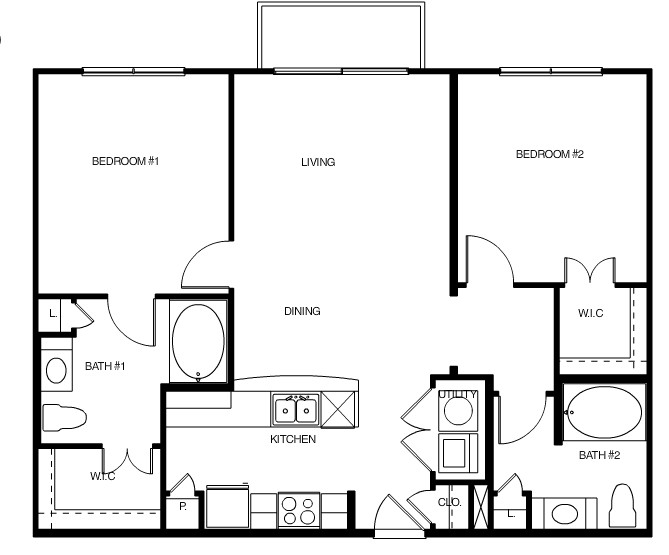 1,036 sq. ft. Atlanta floor plan
