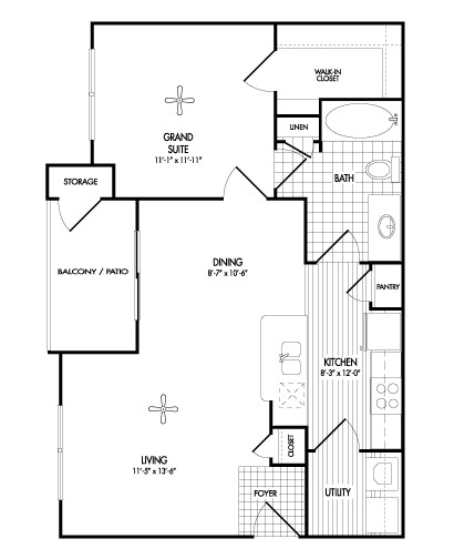 728 sq. ft. A1 floor plan