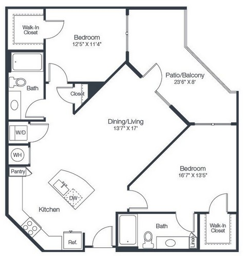 1,085 sq. ft. B2B floor plan