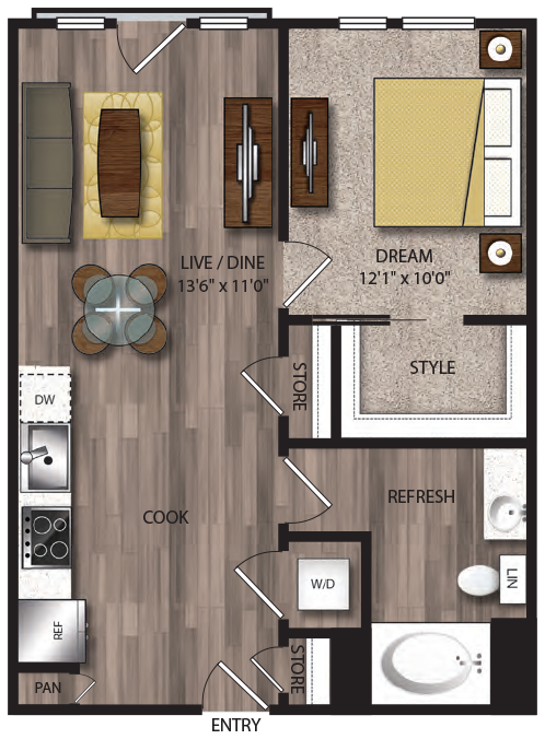 659 sq. ft. A7.1 floor plan