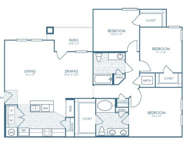 1,399 sq. ft. C1 floor plan