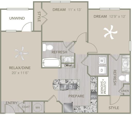 1,138 sq. ft. B7 floor plan