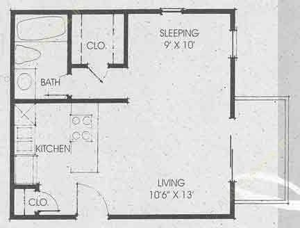 420 sq. ft. to 441 sq. ft. EFF floor plan