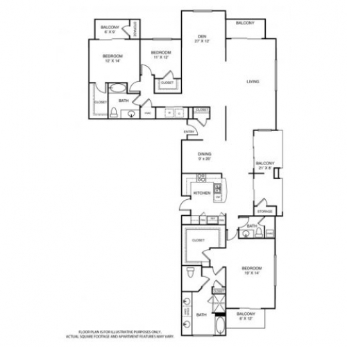 2,884 sq. ft. PH3 floor plan