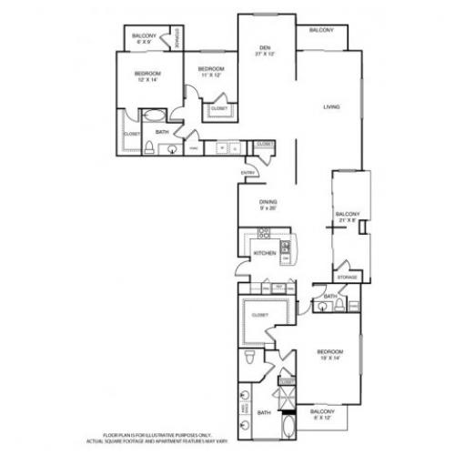 2,884 sq. ft. PH3 floor plan