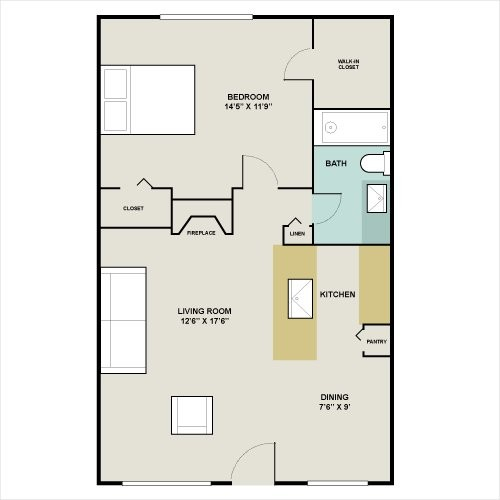 640 sq. ft. to 850 sq. ft. A4 floor plan