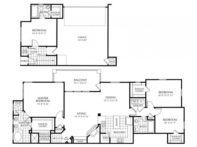 1,954 sq. ft. D1 floor plan