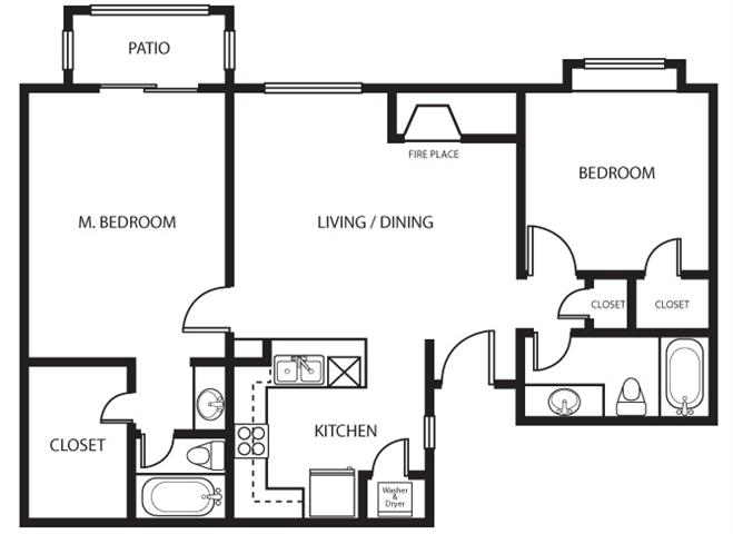 905 sq. ft. Azela floor plan