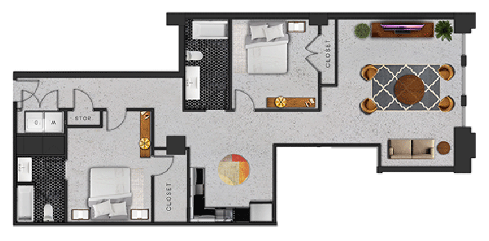 1,346 sq. ft. J floor plan