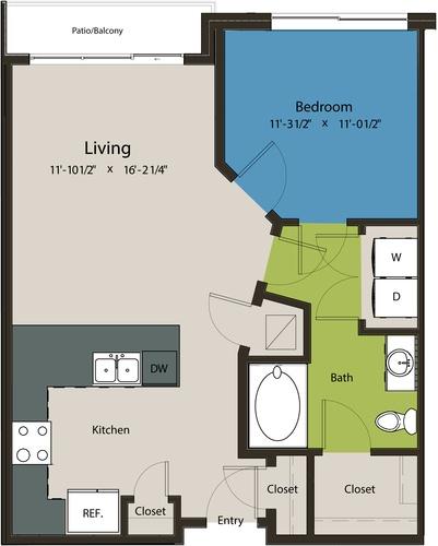 716 sq. ft. A1F floor plan