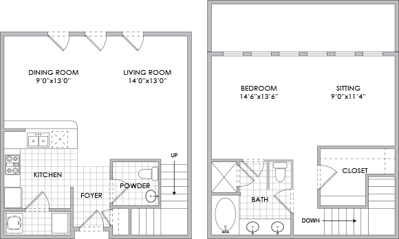 1,270 sq. ft. D2 floor plan