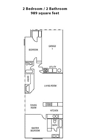 989 sq. ft. Two Bedroom floor plan