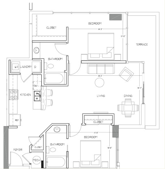 1,111 sq. ft. B4 floor plan