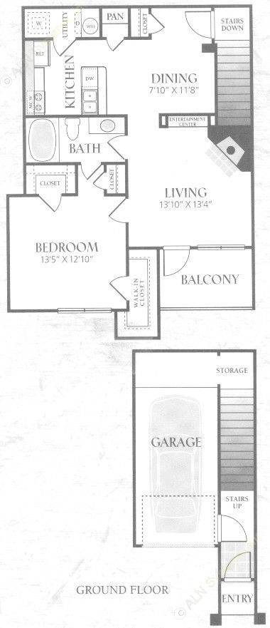 833 sq. ft. A2U floor plan