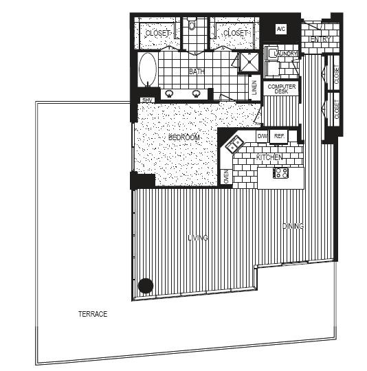 1,200 sq. ft. E floor plan