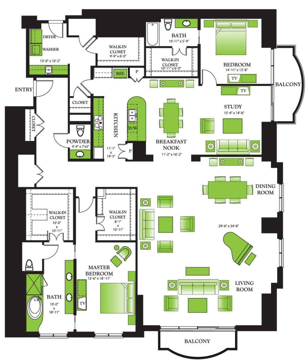 3,524 sq. ft. Penthouse IV/Penthouse IV.I floor plan