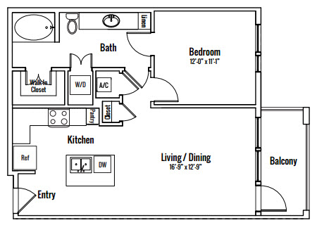 746 sq. ft. Edward A2 floor plan