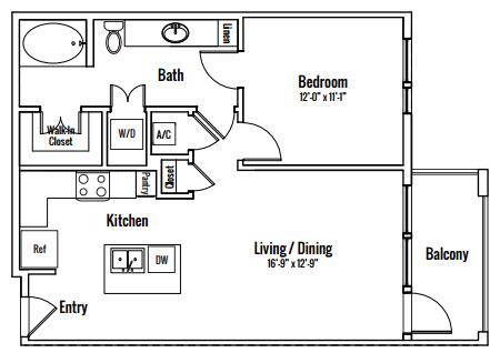 746 sq. ft. Edward A2 floor plan