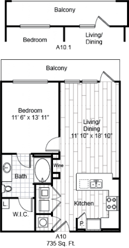 735 sq. ft. A10 floor plan