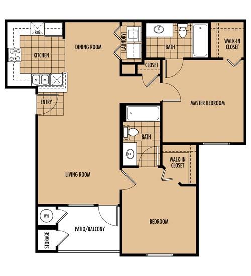 950 sq. ft. B floor plan