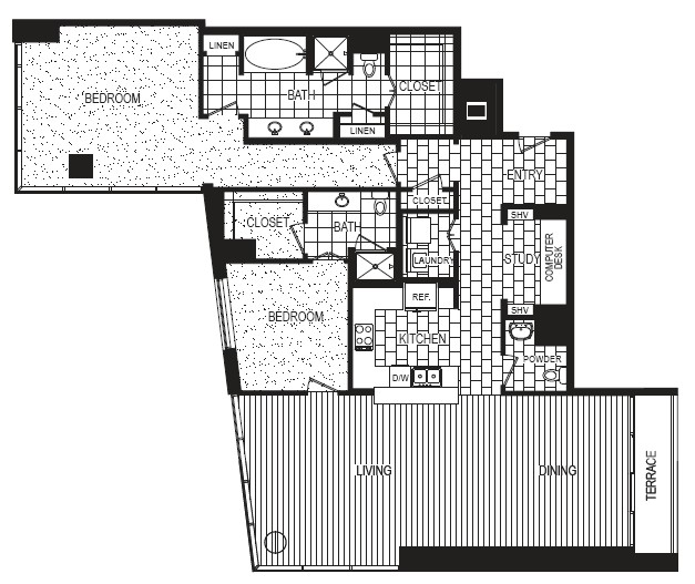 2,017 sq. ft. to 2,104 sq. ft. L floor plan