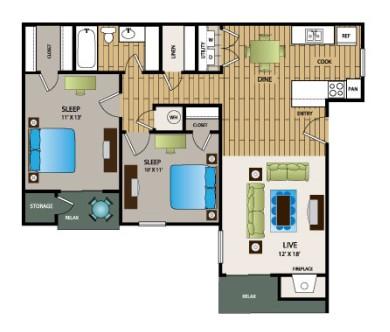 884 sq. ft. B1 floor plan